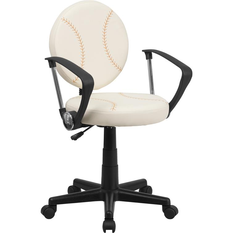 Baseball Swivel Task Office Chair with Arms. Picture 1