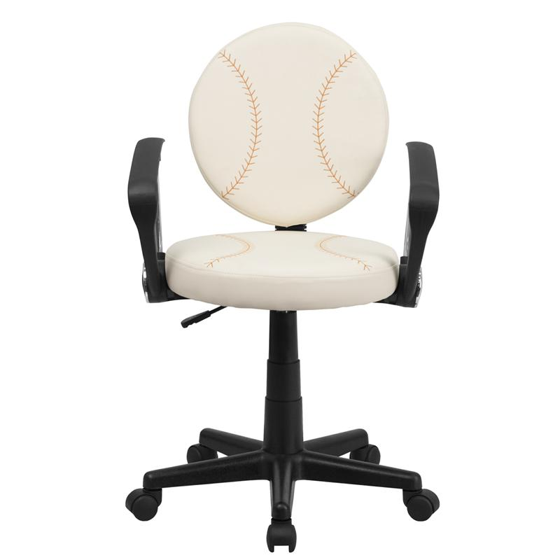 Baseball Swivel Task Office Chair with Arms. Picture 4