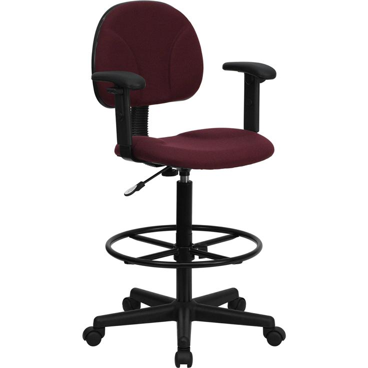 Burgundy Fabric Drafting Chair with Adjustable Arms. Picture 1