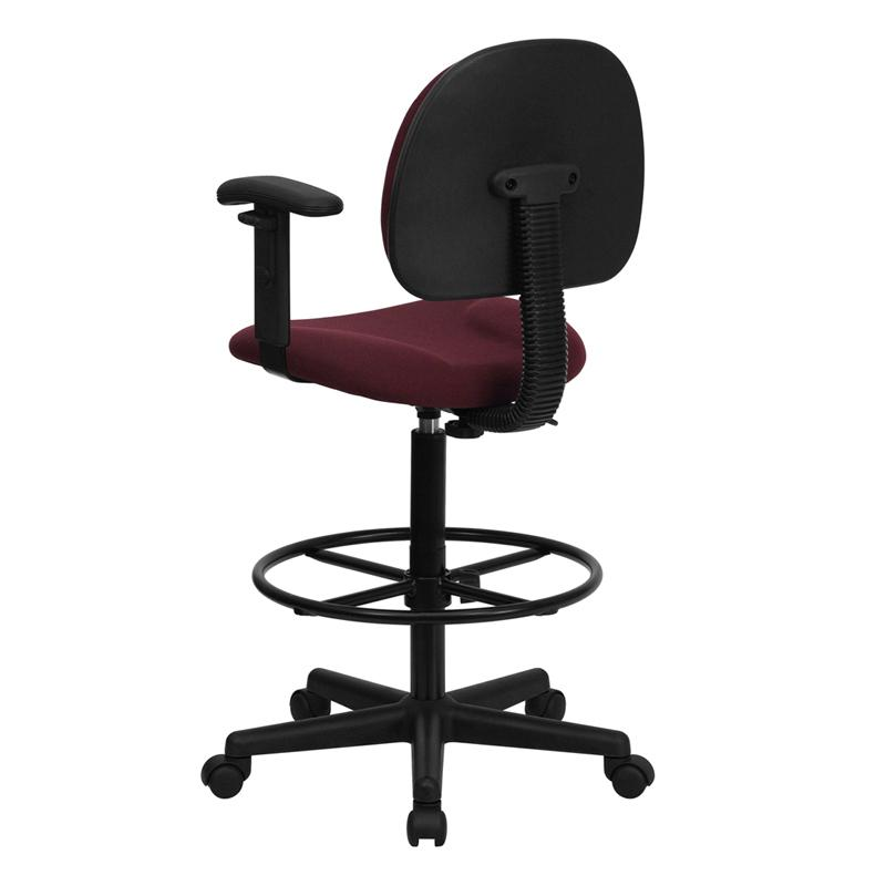 Burgundy Fabric Drafting Chair with Adjustable Arms. Picture 3