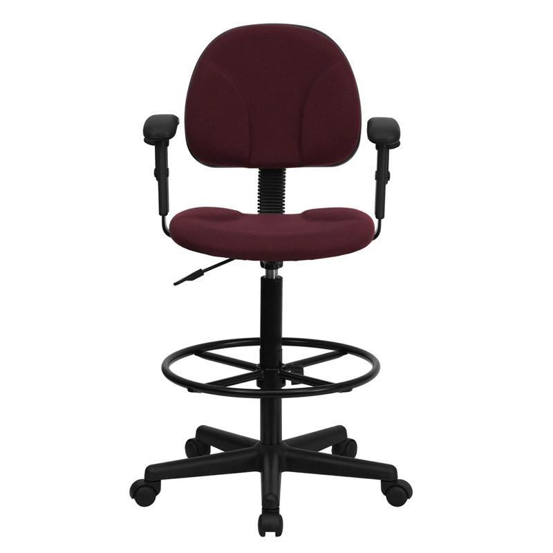 Burgundy Fabric Drafting Chair With Adjustable Arms