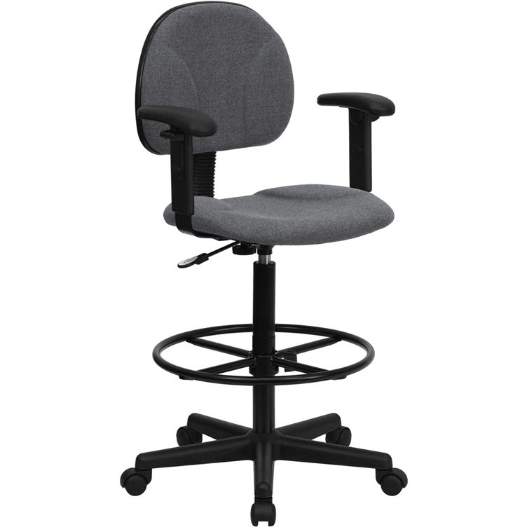 Gray Fabric Drafting Chair with Adjustable Arms (Cylinders: 22.5''-27''H or 26''-30.5''H). Picture 1