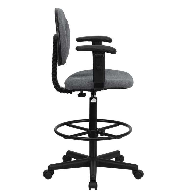 Gray Fabric Drafting Chair with Adjustable Arms (Cylinders: 22.5''-27''H or 26''-30.5''H). Picture 2