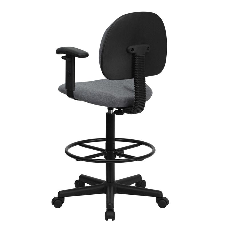 Gray Fabric Drafting Chair with Adjustable Arms (Cylinders: 22.5''-27''H or 26''-30.5''H). Picture 3