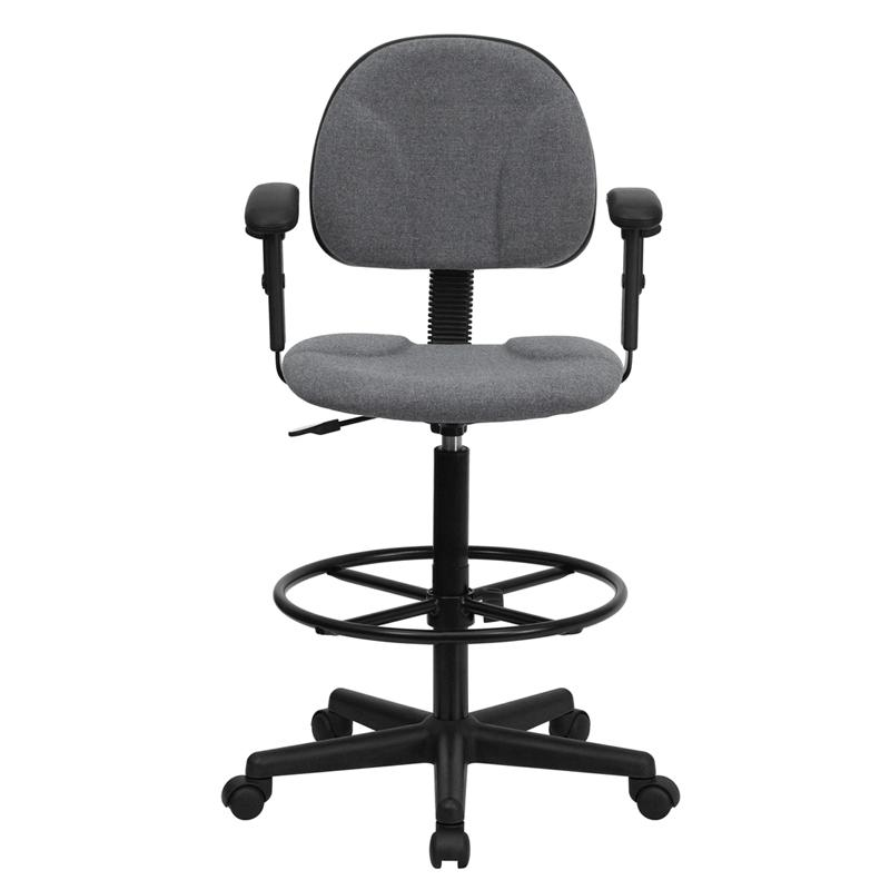 Gray Fabric Drafting Chair with Adjustable Arms (Cylinders: 22.5''-27''H or 26''-30.5''H). Picture 4