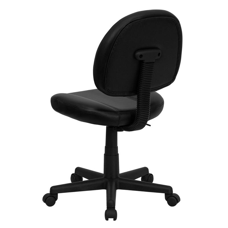 Mid-Back Black LeatherSoft Swivel Ergonomic Task Office Chair with Back Depth Adjustment. Picture 3
