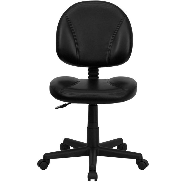 Mid-Back Black LeatherSoft Swivel Ergonomic Task Office Chair with Back Depth Adjustment. Picture 4