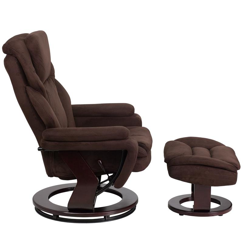 Contemporary Brown Microfiber Recliner And Ottoman With