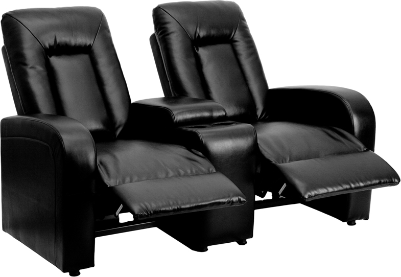 Eclipse Series 2 Seat Reclining Black Leather Theater Seating Unit With Cup  Holders