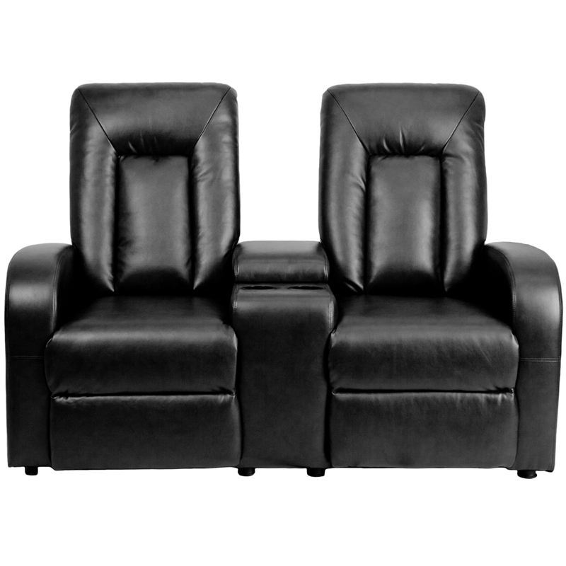 Eclipse Series 2 Seat Reclining Black Leather Theater