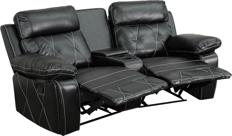 Reel Comfort Series 2 Seat Reclining Black Leather Theater Seating
