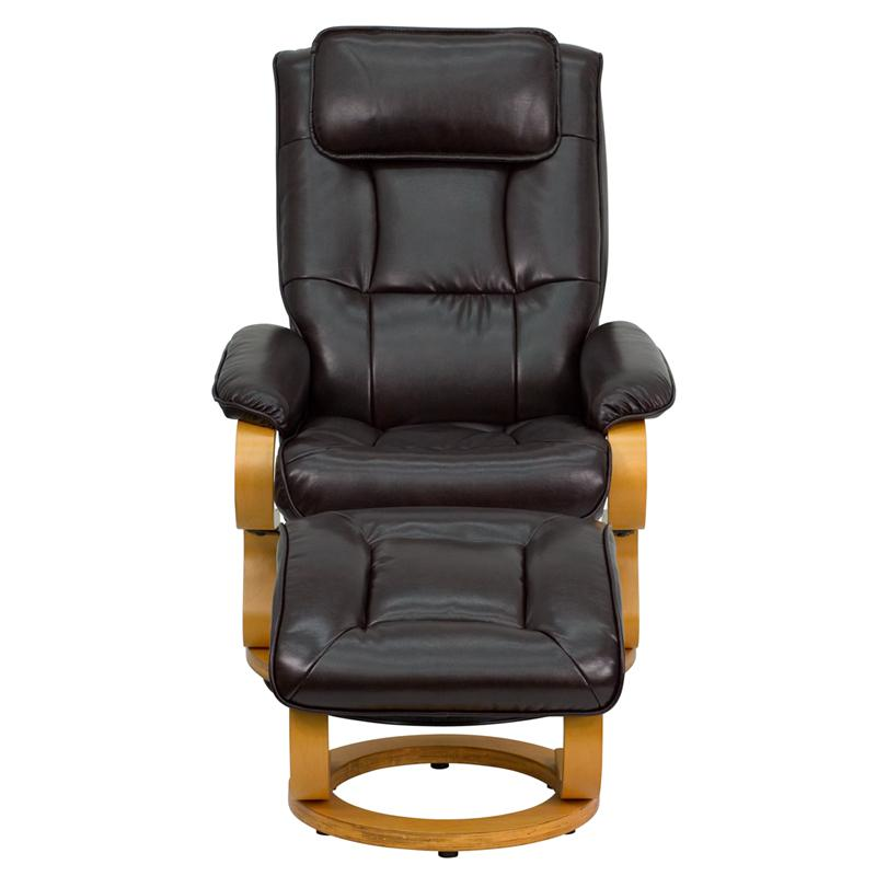 Contemporary Brown Leather Recliner And Ottoman With