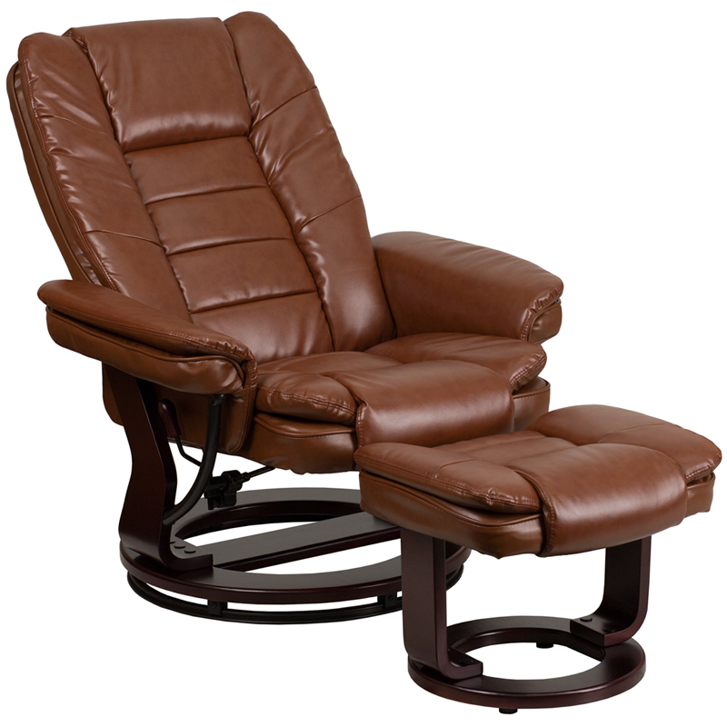 Genial Contemporary Brown Vintage Leather Recliner And Ottoman With Swiveling  Mahogany Wood Base