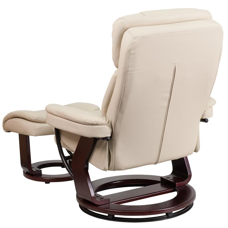 Contemporary Beige Leather Recliner and Ottoman with Swiveling Mahogany Wood Base  sc 1 st  BisonOffice.com & Contemporary Beige Leather Recliner and Ottoman with Swiveling ... islam-shia.org