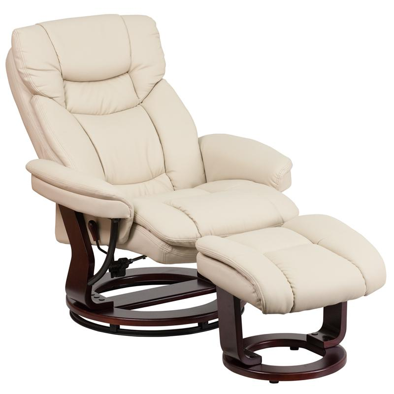 Contemporary Beige Leather Recliner And Ottoman With Swiveling Mahogany  Wood Base Recliner Ottoman R21