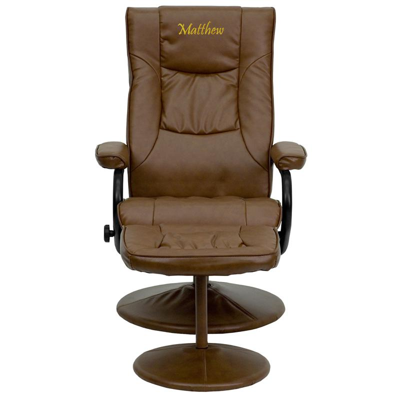 Personalized Contemporary Multi-Position Recliner and Ottoman with Wrapped Base in Palimino LeatherSoft. Picture 1