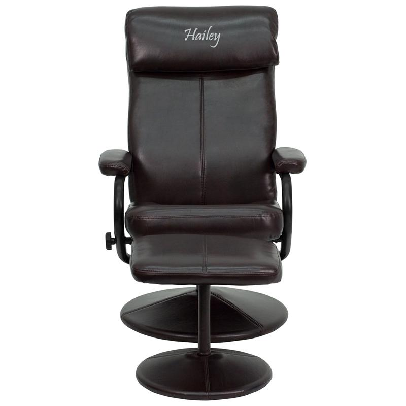 Personalized Contemporary Multi-Position Headrest Recliner and Ottoman with Wrapped Base in Brown LeatherSoft. Picture 1