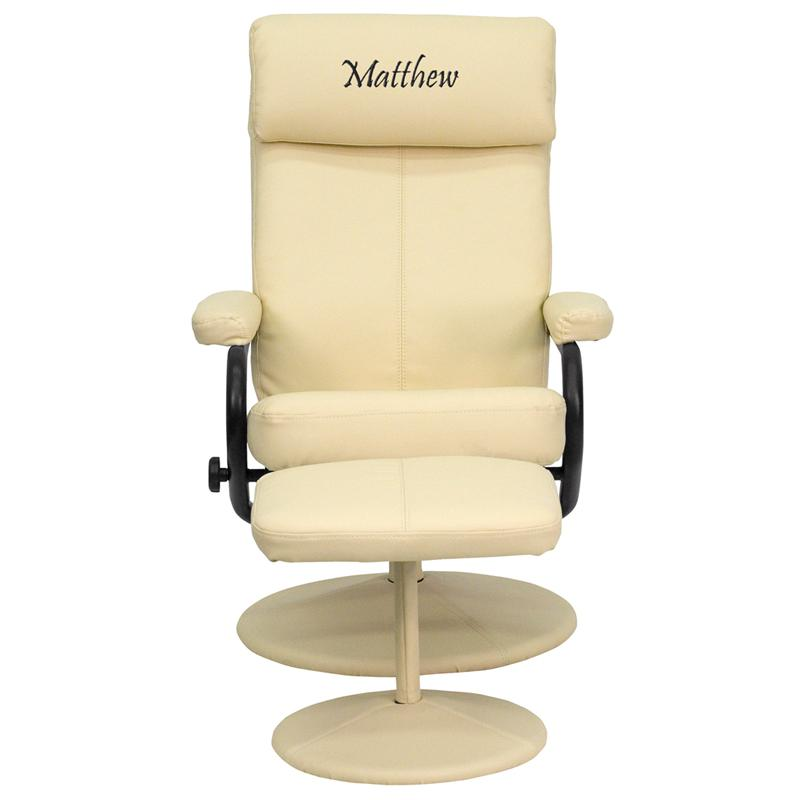 Personalized Contemporary Multi-Position Headrest Recliner and Ottoman with Wrapped Base in Cream LeatherSoft. Picture 1