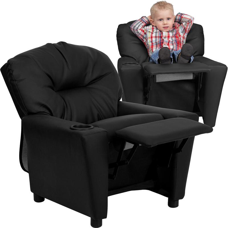 Black Leathersoft Kids Recliner, Child Recliner Chair With Cup Holder