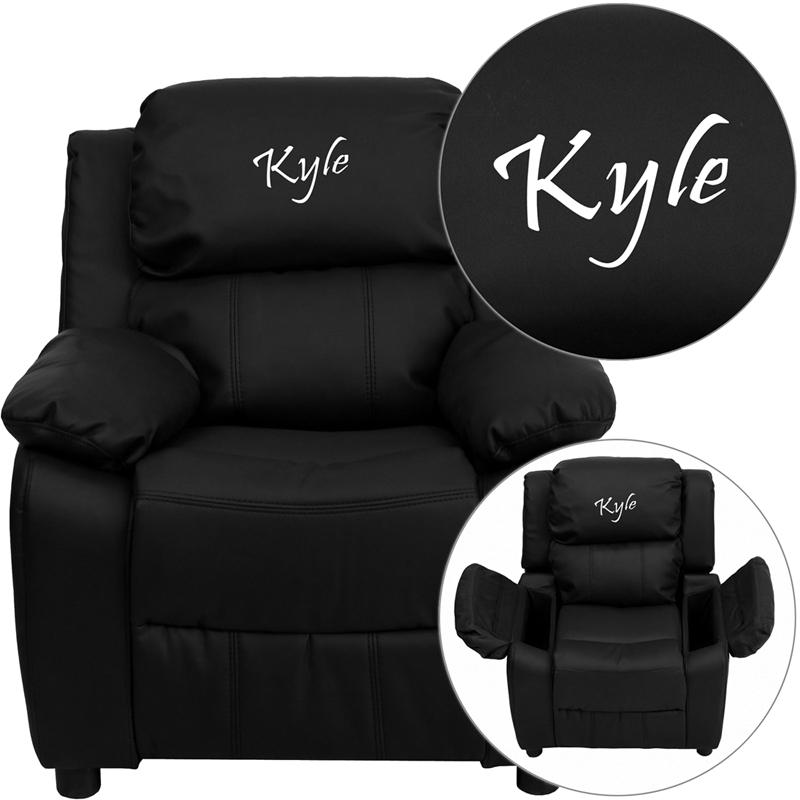 Personalized Deluxe Padded Black LeatherSoft Kids Recliner with Storage Arms. Picture 1