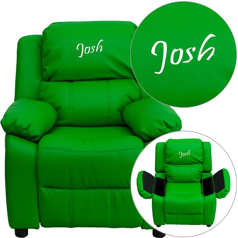 Personalized Deluxe Padded Green Vinyl Kids Recliner with Storage Arms. Picture 1