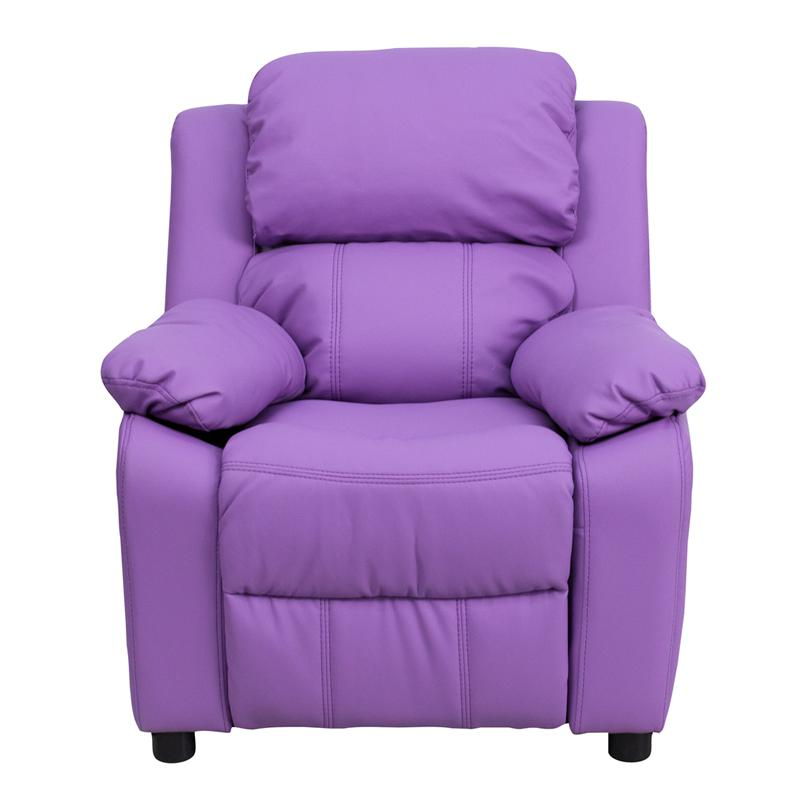 Deluxe Padded Contemporary Lavender Vinyl Kids Recliner