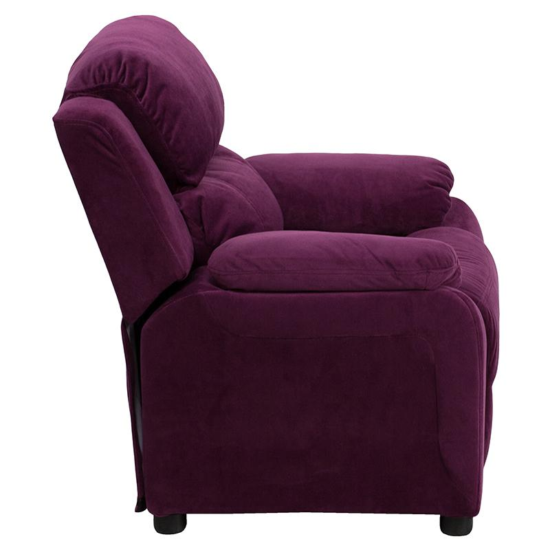 Deluxe Padded Contemporary Purple Microfiber Kids Recliner