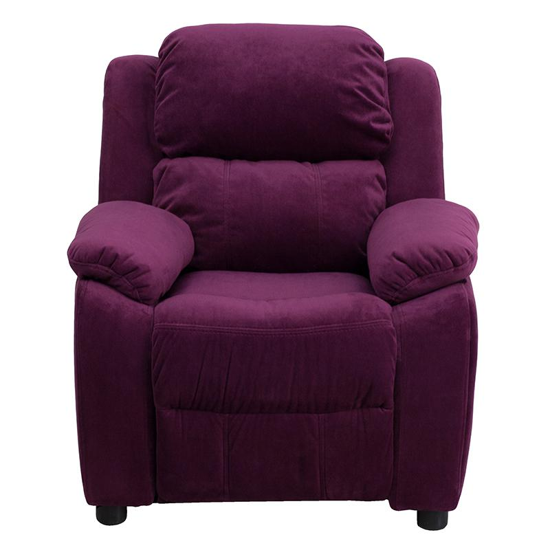 Deluxe Padded Contemporary Purple Microfiber Kids Recliner ...
