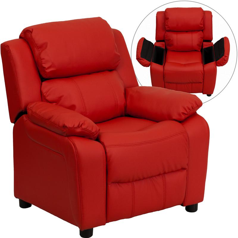 Deluxe Padded Contemporary Red Vinyl, Toddler Recliner Rocking Chair