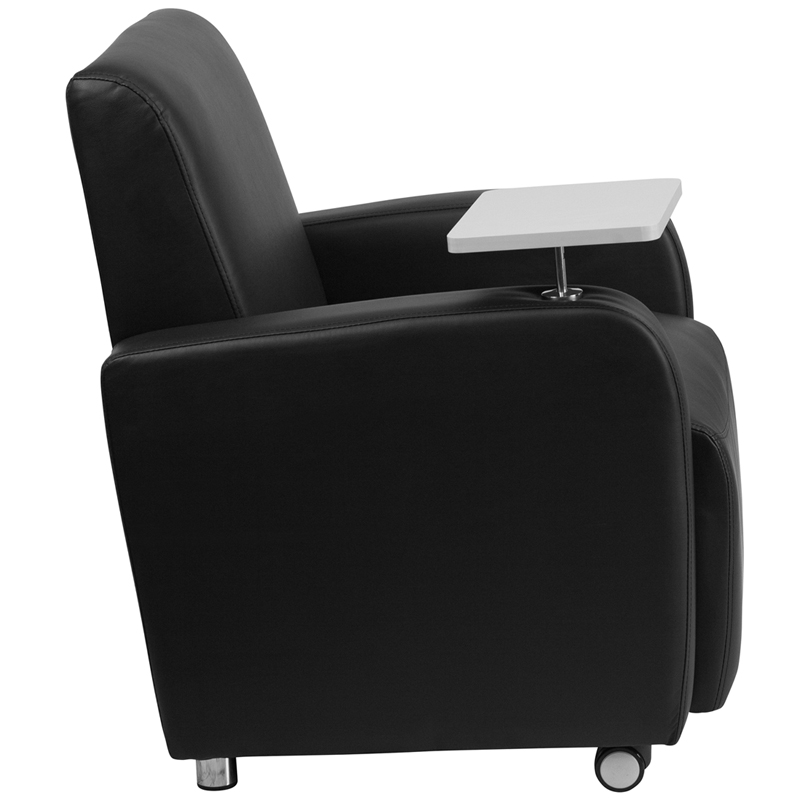 black leather guest chair with tablet arm front wheel casters and