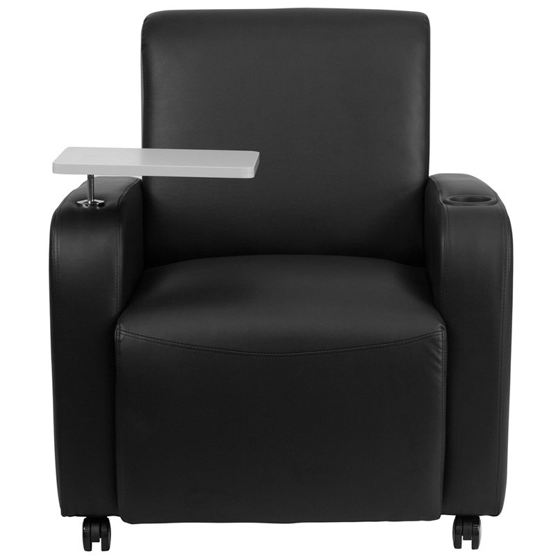 Superbe Black Leather Guest Chair With Tablet Arm, Front Wheel Casters And Cup  Holder