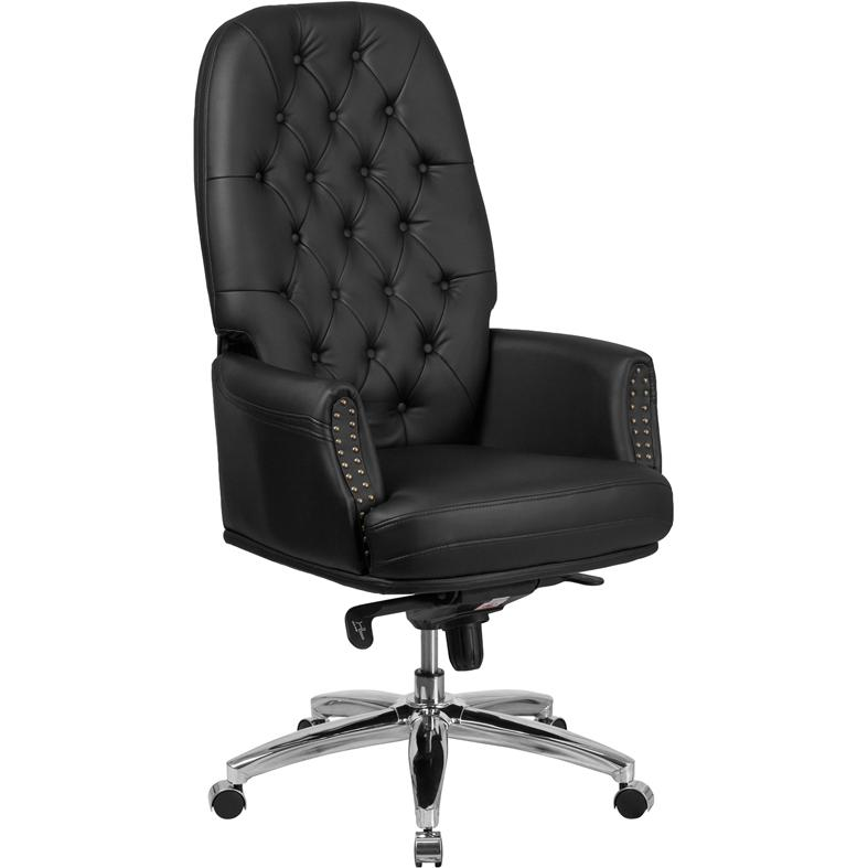 high back traditional tufted black leather multifunction executive swivel chair with arms. Black Bedroom Furniture Sets. Home Design Ideas