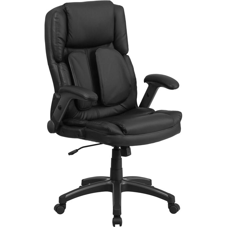 Extreme Comfort Black Leather Swivel Ergonomic Office Chair with Flip-Up  Arms