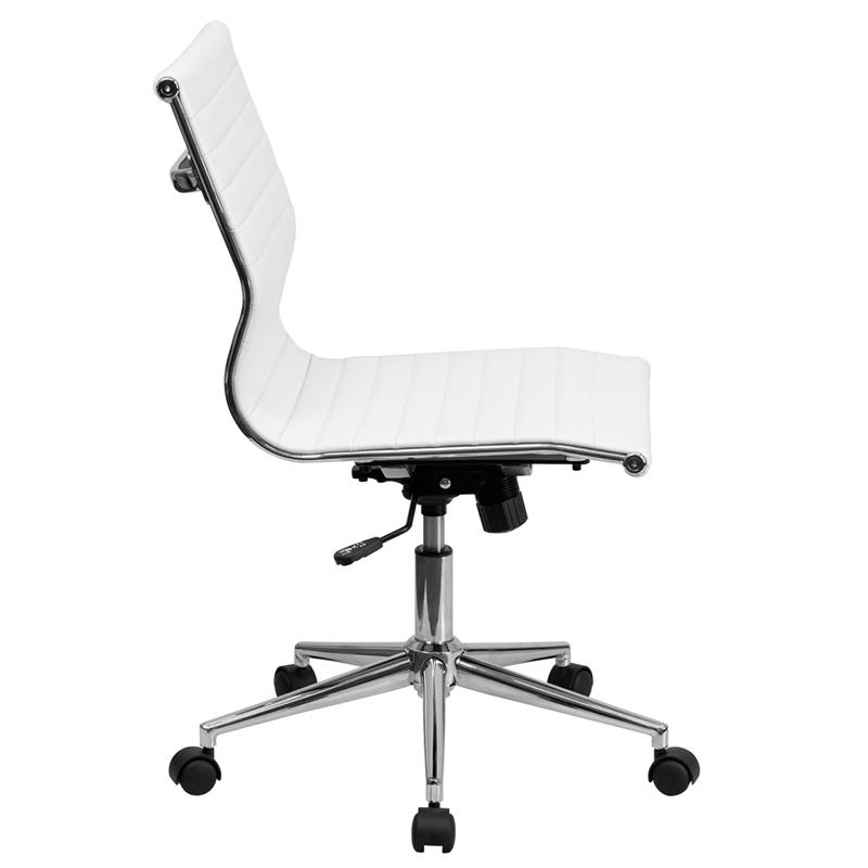 Mid Back Armless White Ribbed Leather Swivel Conference