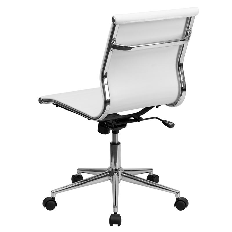 mid back armless white ribbed leather swivel conference chair