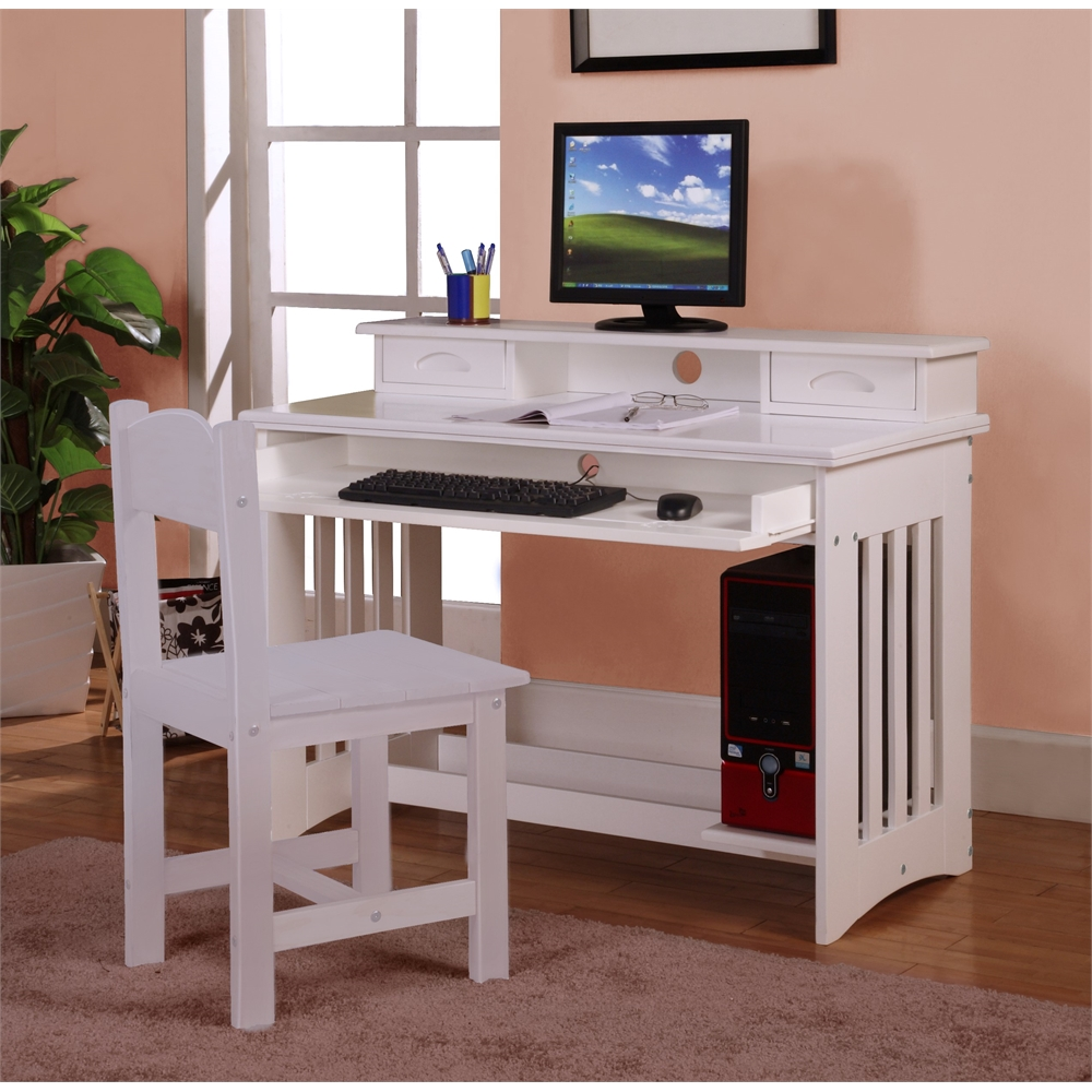 Desk And Hutch In White
