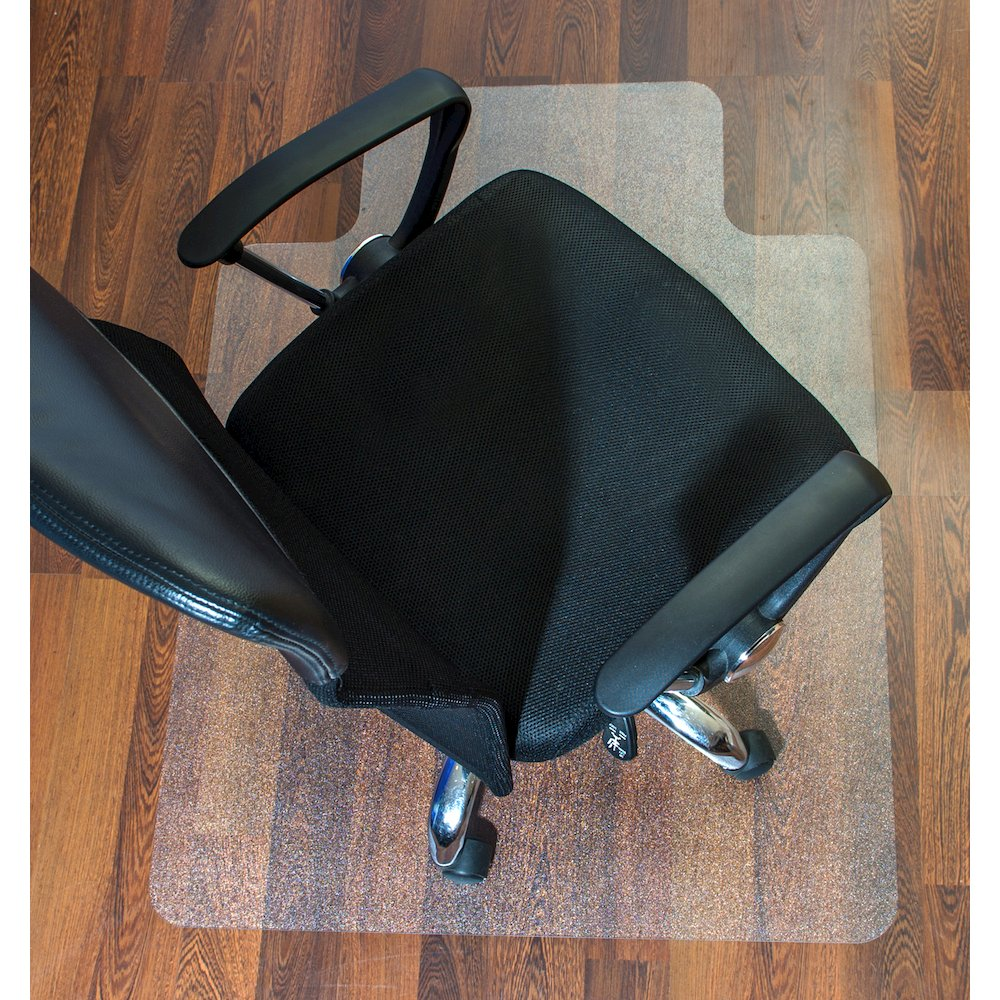 """Cleartex Ultimat Chair Mat, Rectangular With Lip, Clear Polycarbonate, For Hard Floor, Size 48"""" x 60"""". Picture 3"""