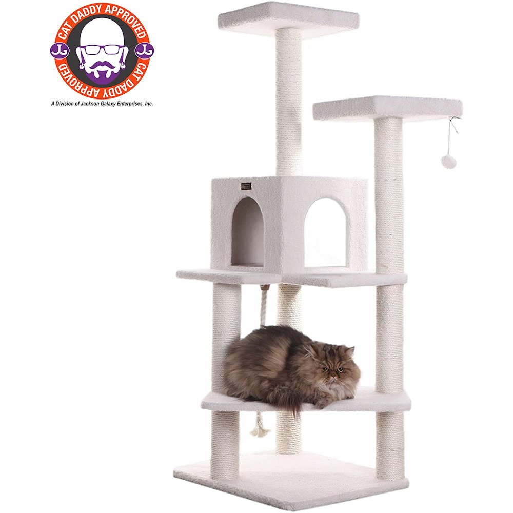 Armarkat Model B5701 57-Inch Classic Cat Tree in Ivory, Jackson Galaxy Approved, Four Levels with Two Perches and Two-Door Condo. Picture 2