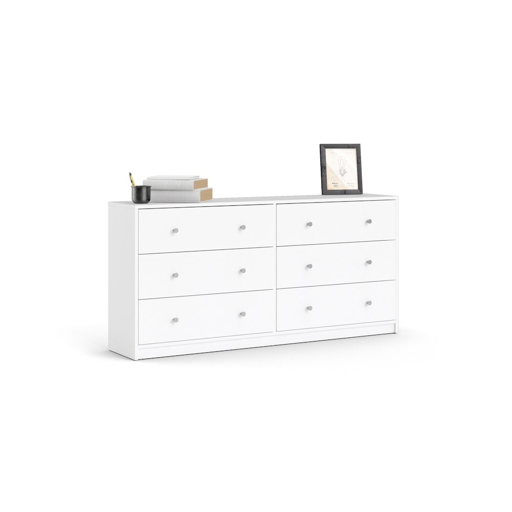 Portland 6 Drawer Double Dresser, White. Picture 1