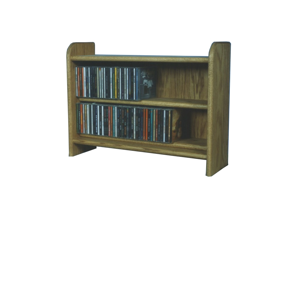 Solid Oak 2 Shelf CD Cabinet. Picture 1