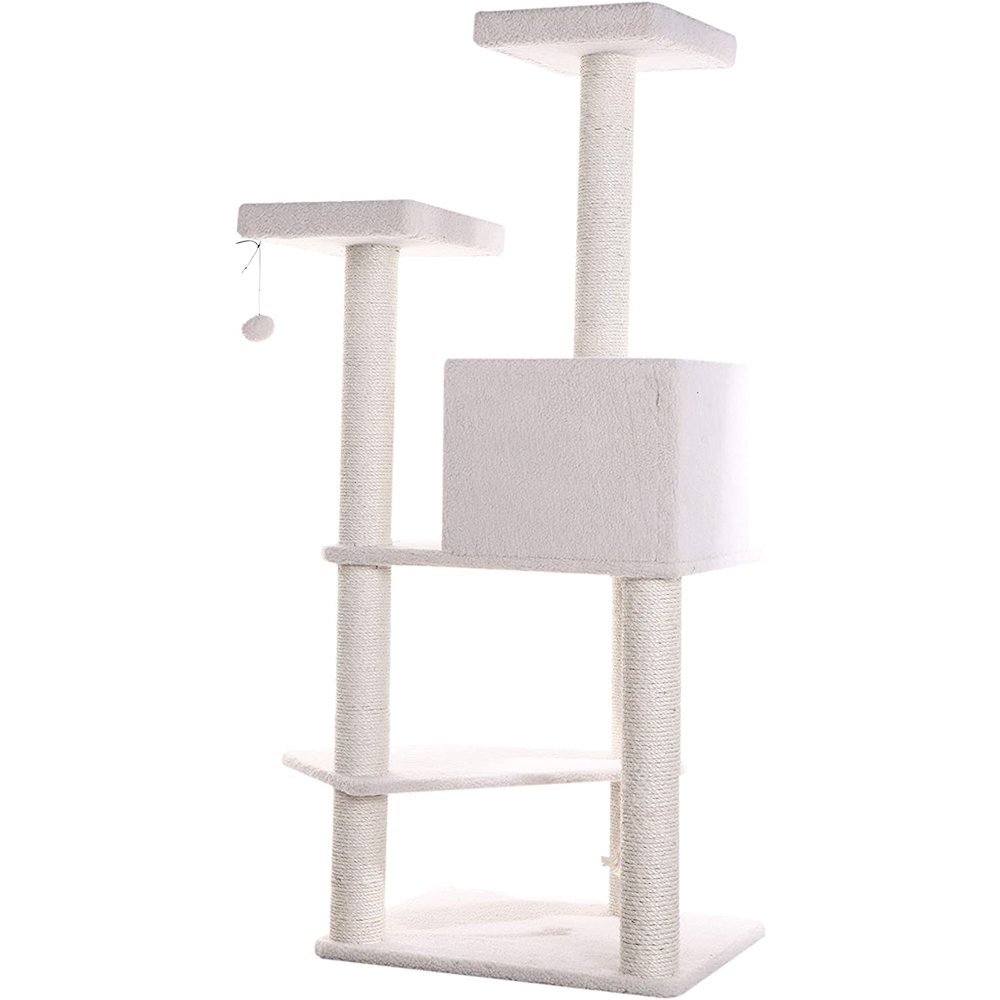 Armarkat Model B5701 57-Inch Classic Cat Tree in Ivory, Jackson Galaxy Approved, Four Levels with Two Perches and Two-Door Condo. Picture 3