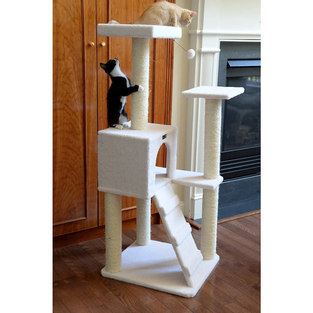 Armarkat Model B5301 53-Inch Classic Cat Tree in Ivory with Ramp, Perch, Condo, Jackson Galaxy Approved. Picture 3
