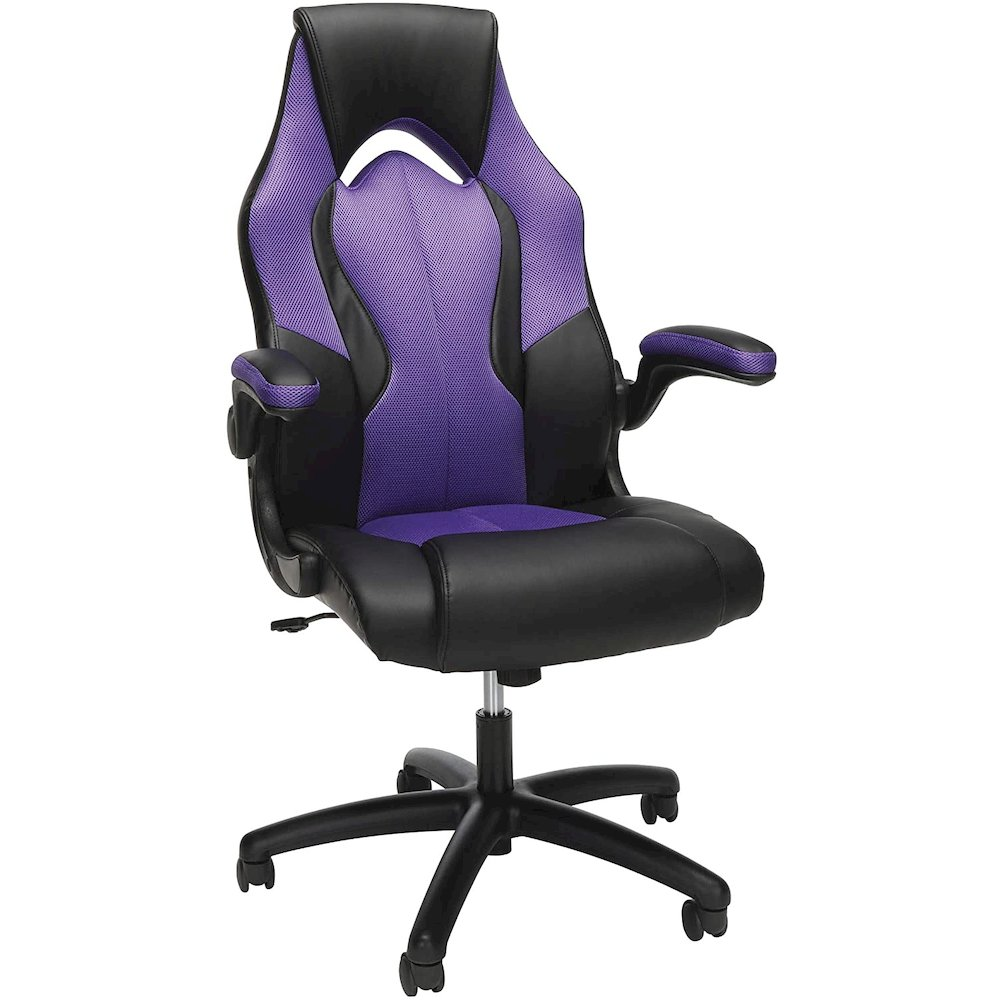 OFM Essentials Collection High-Back Racing Style Bonded Leather Gaming Chair, in Purple (ESS-3086-PUR). Picture 1