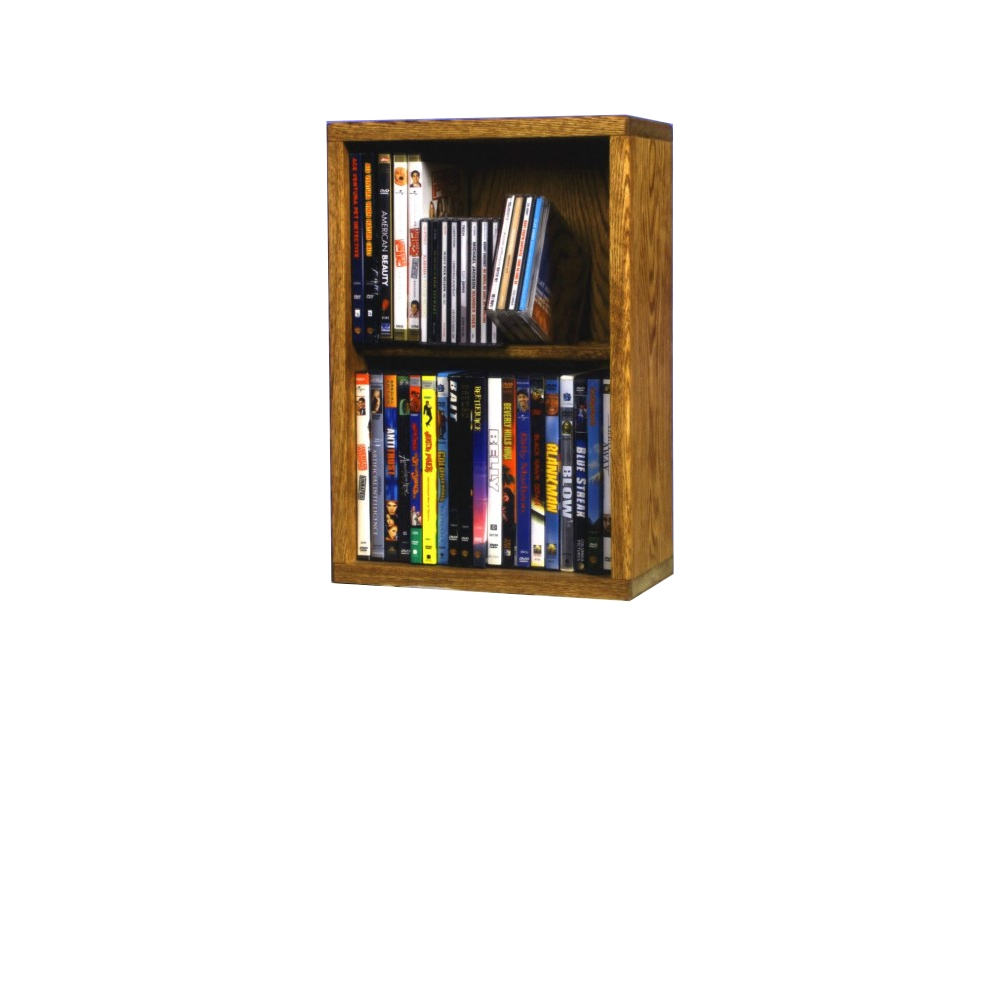 Solid Oak 2 Row Dowel DVD Cabinet Tower. Picture 1