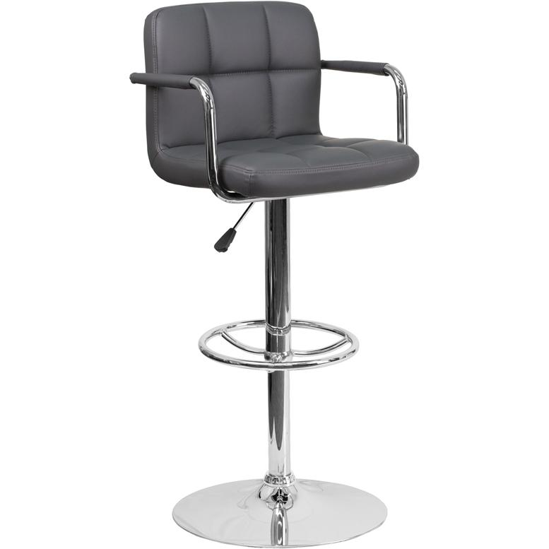 Contemporary Gray Quilted Vinyl Adjustable Height Barstool with Arms and Chrome Base. Picture 1