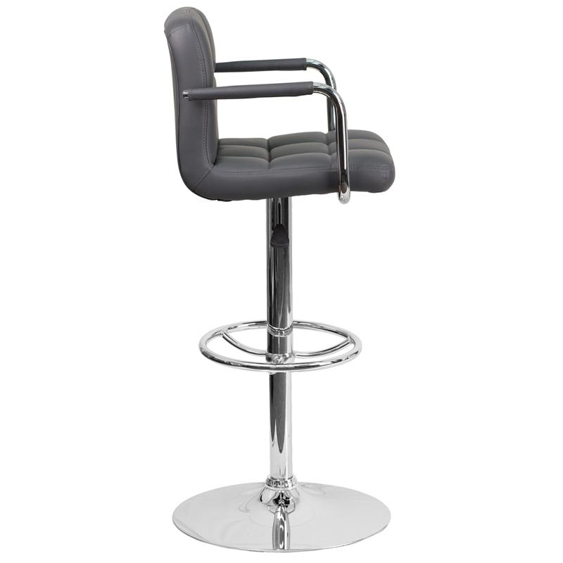 Contemporary Gray Quilted Vinyl Adjustable Height Barstool with Arms and Chrome Base. Picture 2