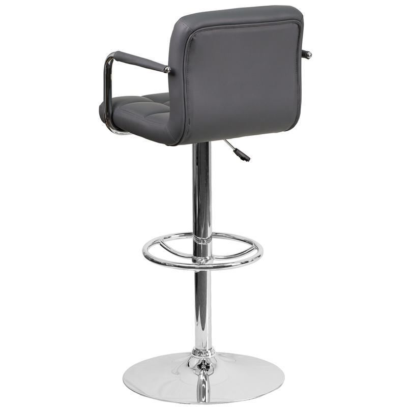 Contemporary Gray Quilted Vinyl Adjustable Height Barstool with Arms and Chrome Base. Picture 3