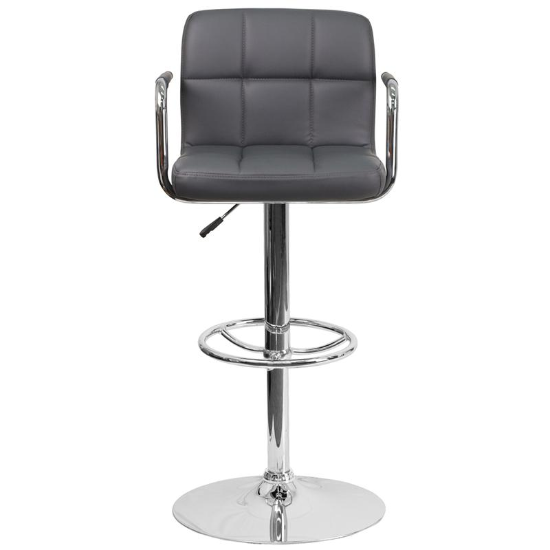 Contemporary Gray Quilted Vinyl Adjustable Height Barstool with Arms and Chrome Base. Picture 4