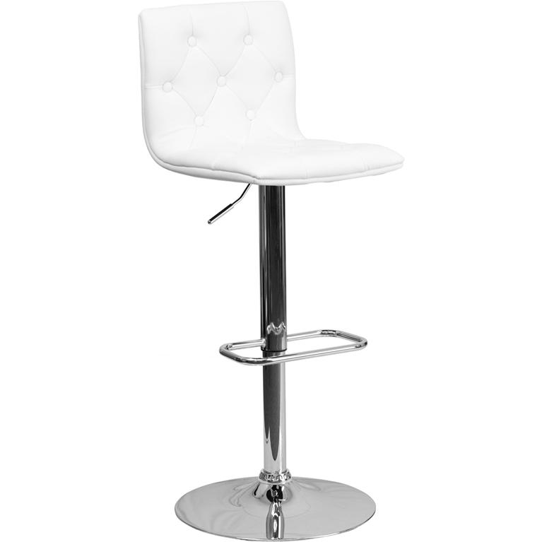 Contemporary Button Tufted White Vinyl Adjustable Height Barstool with Chrome Base. Picture 1