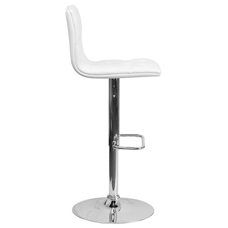 Contemporary Button Tufted White Vinyl Adjustable Height Barstool with Chrome Base. Picture 2